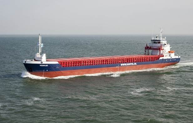 """A 88,60 m Damen Combi Freighter 3850 is equipped with 1 x MAK, type 8M 20 C, running on HFO fuel (IFO 380) or gasoil. Hold capacities – 5.250 m3. Total number of containers in hold and on deck – 188 TEU. The vessel was named """"Heenvliet"""". http://www.damen.nl/news/deliveries/2011/10/cf-3850-heenvliet"""