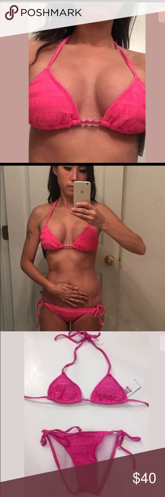 NWT Guess Pink Pucker Up Bikini Set XS Super sexy candy pink bikini set by Guess done in like a textured fabric. Triangle top has light pads you can use or take off. The bottoms tie on the Side and has Guess logo on bottoms done with crystals. Size is XS brand new with tags. Guess Swim Bikinis