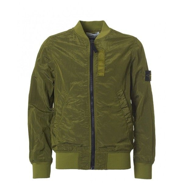 Stone Island Junior Nylon Bomber Jacket (215 CHF) ❤ liked on Polyvore featuring olive