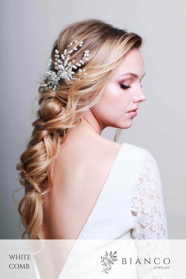 Grzebień ślubny White Comb  wedding inspiration  / wedding comb / wedding hairstyle / glamour wedding / beautiful wedding /