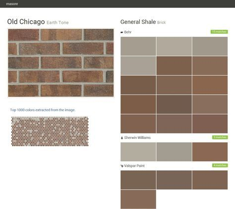 Old Chicago. Earth Tone. Brick. General Shale. Behr. Sherwin Williams. Valspar Paint. Click the gray Visit button to see the matching paint names.