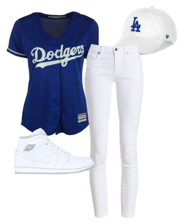 """""""Dodger game outfit"""" by alicejanine on Polyvore featuring Majestic, '47 Brand, Barbour and NIKE"""