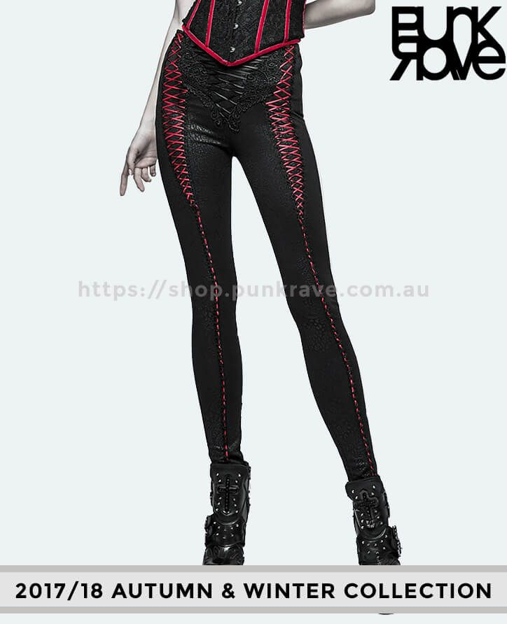1.	Walk the walk with our streamlined 2017/18 Gothic Vintage Paisley Black & Red Leggings. High-quality stretch leggings featuring red embroidered design from the waist to ankle. Be the showstopper of your own world from- https://shop.punkrave.com.au