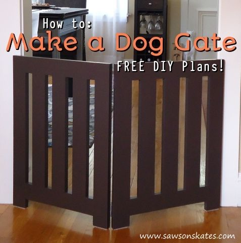 Looking for homemade pet gate ideas that look store bought and that your doggies will love? Check out this indoor DIY plan for a folding free standing dog gate. It's decorative enough to leave out and neatly folds when not in use. FREE PLANS!