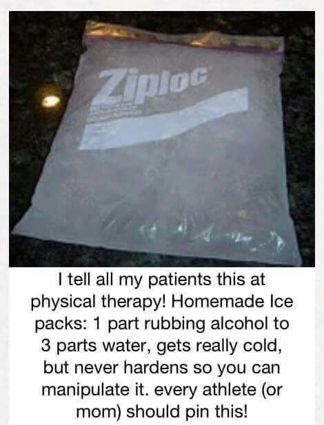 Homemade ice packet: freezer bag, one part alcohol, three parts water. Never completely freezes and can be manipulated in any shape.