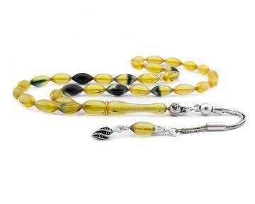 Sıkma Kehribar Tesbih 925 Ayar Gümüş Püsküllü Sarı Lacivert Hareli