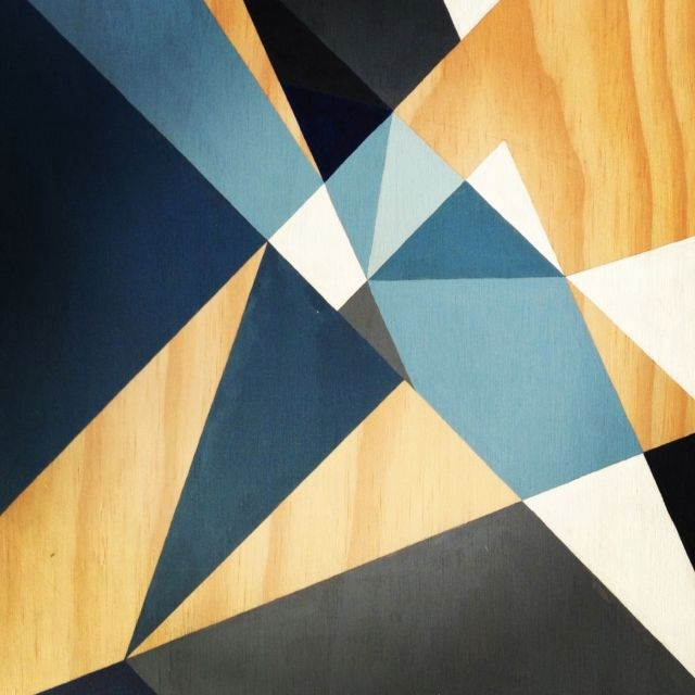 Geometric series: Blue triangles. Acrylic on Birch Plywood