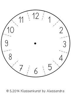 bastelvorlage uhr clock template hallo kinder wir. Black Bedroom Furniture Sets. Home Design Ideas