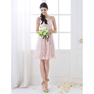 A-line One Shoulder Knee-length Lace Bridesmaid Dress (710809) - USD $ 79.19