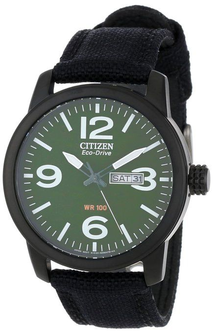 Citizen Eco-Drive Military Green Dial & Black Ion Case
