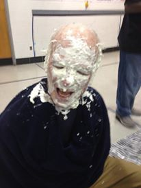Our Executive Director volunteered for a Pie-In-The-Face reward day! What a good Sport!