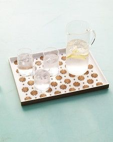 Punched Cork Serving Tray (Using self adhesive liner)Bottle Crafts, Diy Crafts, Corks Trays, Crafts Punch, Corks Boards, Punched Corks Servings, Servings Trays, Martha Stewart, Punch Corks Servings