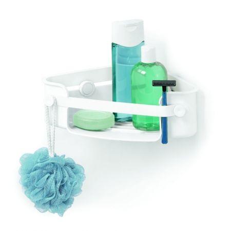 Howards Storage World | Flex Gel-Lock Corner Shower Basket Caddy - White