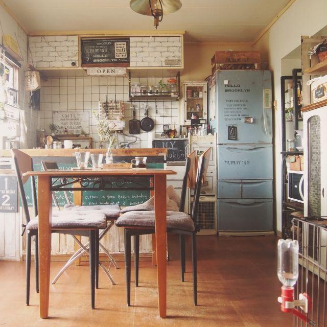 reenaさんの、部屋全体,団地,冷蔵庫リメイク,めざせN.Yブルックリン,団地DIY,ここも飽き飽き,のお部屋写真