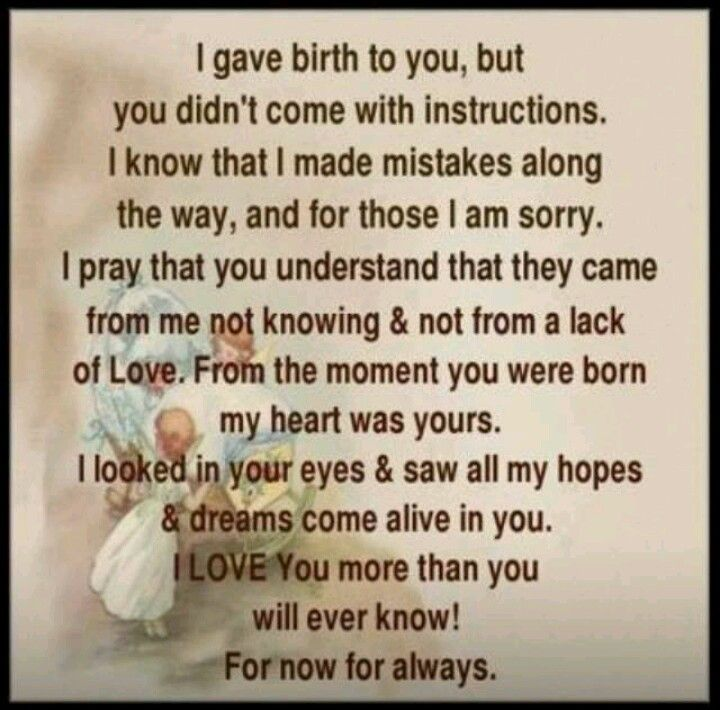 Letter from mother to son....To all my boys... Love always and always Mom