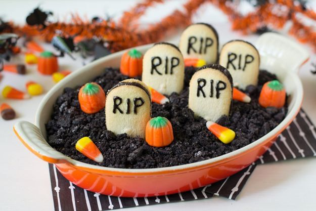 Fun and Spooky Halloween Party Food Ideas | Graveyard Chocolate Cheesecake Dip