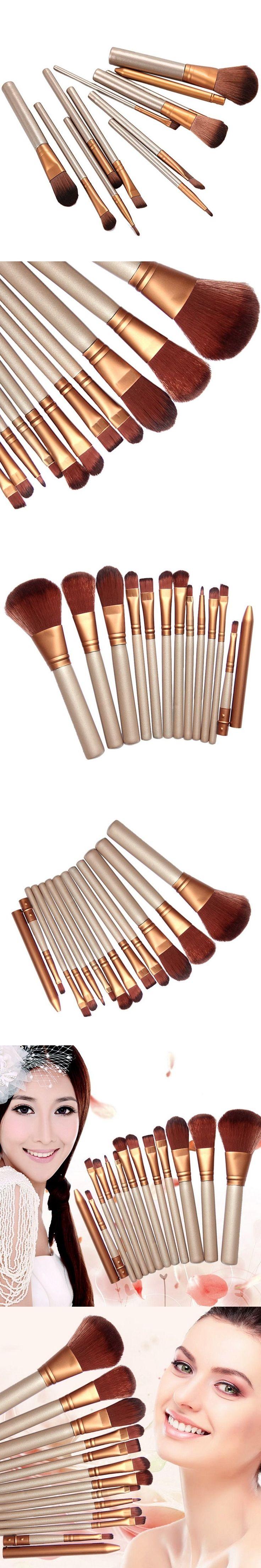 12Pcs/Lot Fashion Makeup Powder Brushes Set Professional Cosmetic Blush Foundation Eyeshadow Eyebrow Lip Brushes Tool