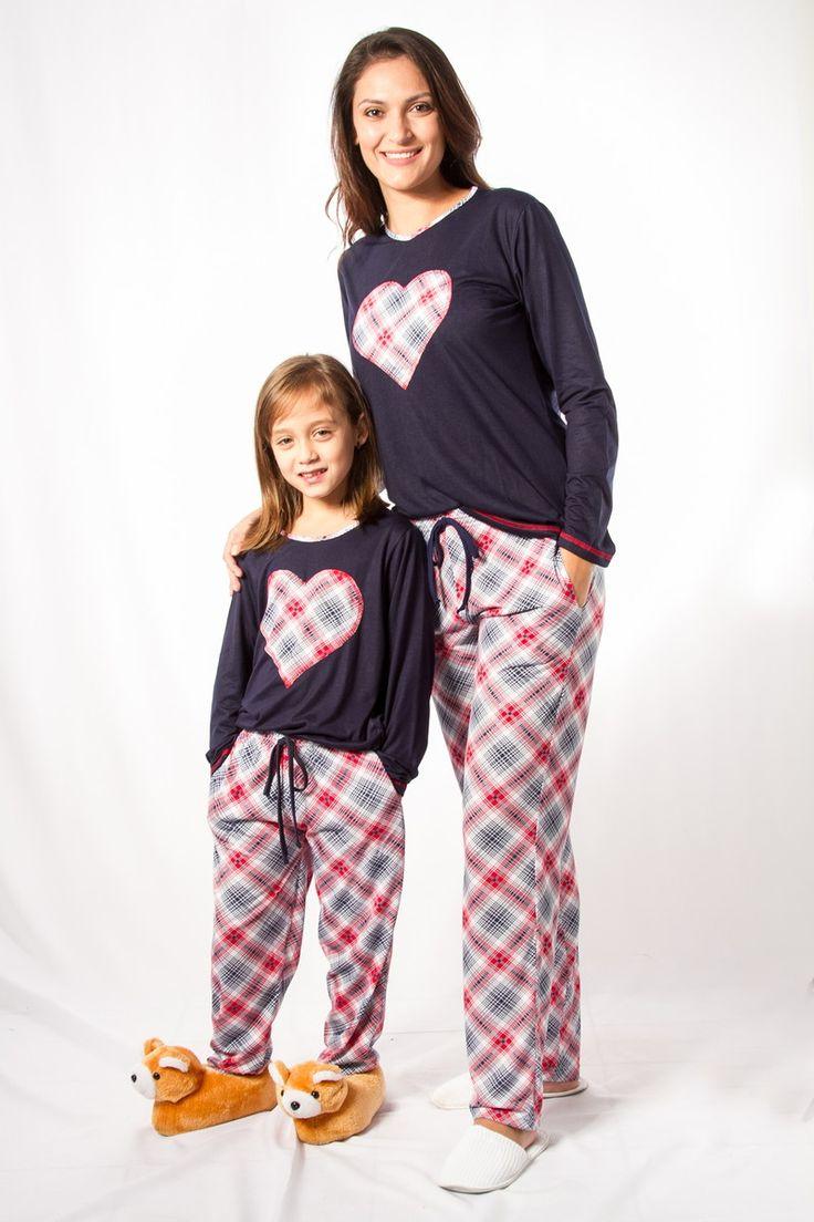 Pijama Kit Mãe e Filha Coração Retrô