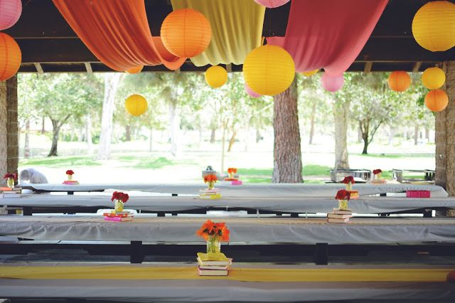 Pink, Orange, and Yellow Summer Soiree, hanging fabric and lantern decor, mason jar centerpieces, graduation party in the park