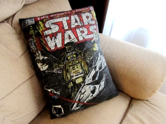 Star Wars comic book t-shirt recycled as a pillow ... to diy with Madeline's shirts she has outgrown