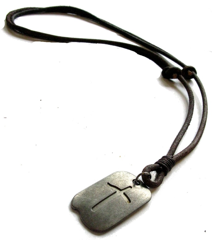 vintage cross tag adjustable leather necklace mens