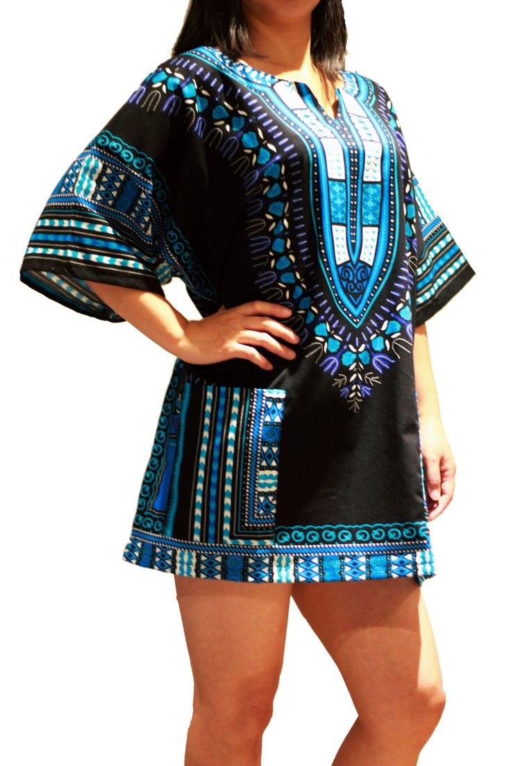 Traditional African Dashiki Shirt Dress Unisex for Men or Women - Black & Blue - Free Size