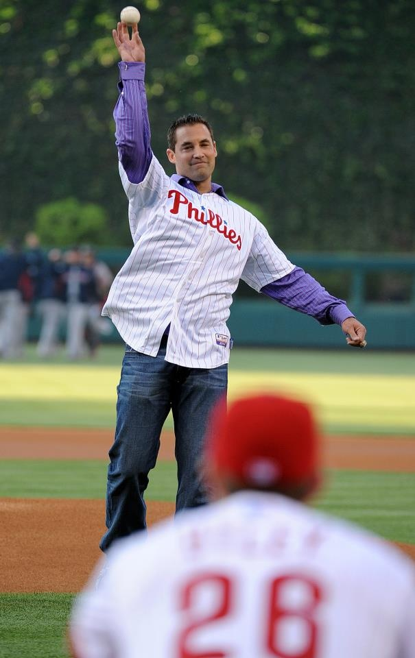 Pat Burrell throws out a ceremonial first pitch to Chase Utley the day he officially retires as a Phillie on May 19, 2012: Bat Taught, Bat Retires, Bats, Favs, Batter Batter, Bat He Officially, Favorites Sports, Loooove Pat, Hey Batter