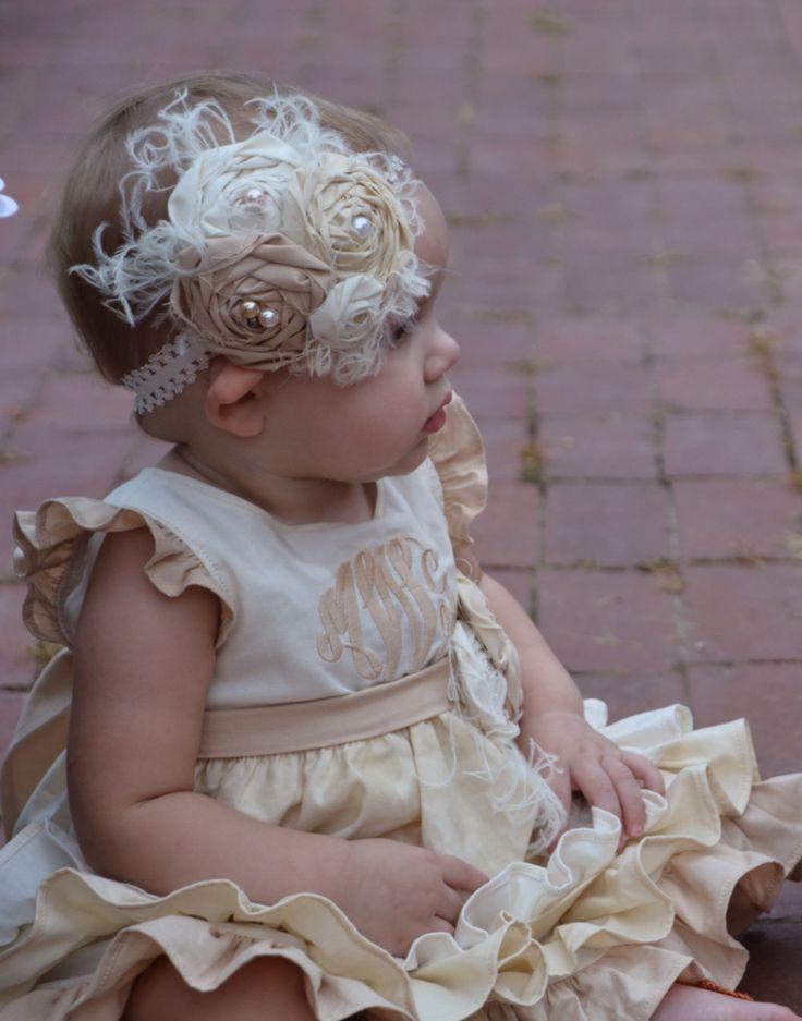 Baby Stirnbänder zu verkaufen! Baby-Stirnband in Cremetönen, hergestellt aus …   – Designs by Danielle