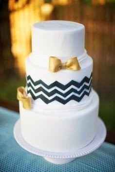 Simple Bow Tie Wedding Cake #2014trends