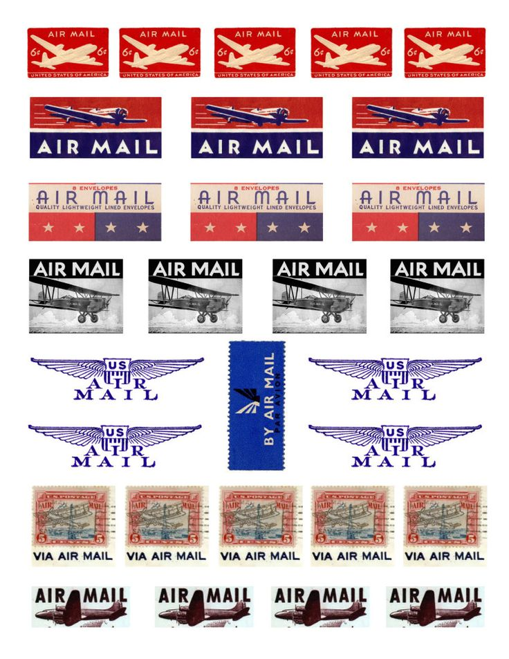 Free printable vintage airmail labels and postage stamps.
