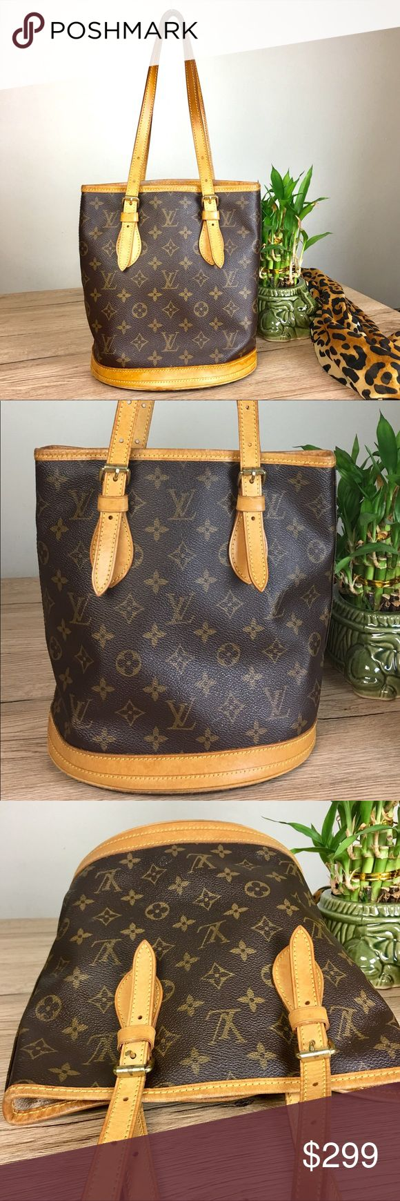 "Louis Vuitton Monogram Bucket PM Shoulder Bag Gently used. Smoke free home	  W8.6 x H10 x D6.3"" / Shoulder Drop 6.3-9.8""(Approx) Long Wallet with Coin Purse but it hasn't coin purse Louis Vuitton Bags Shoulder Bags"