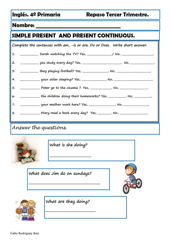 Fichas inglés cuarto primaria. Niños de 9-10 años   4° grade booklet ...