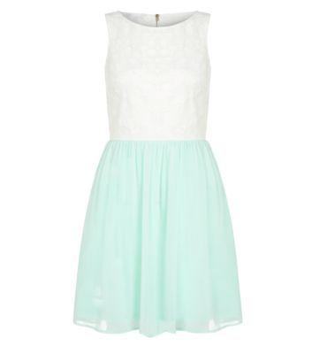 Teens Mint Green Chiffon Lace Skirt Dress