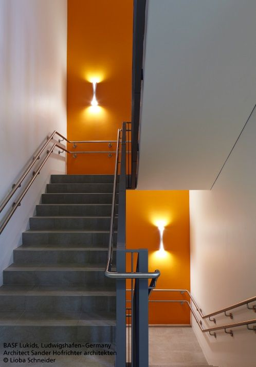 In any case, the stairs must be well lit. Here, the white #CADMO wall #design KARIM RASHID