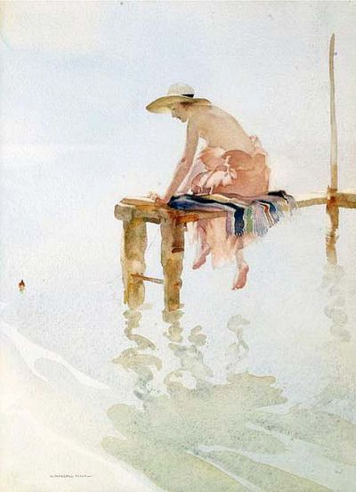 Sir William Russell Flint (1880 - 1969) - Clarissa Fishing - Watercolor; Flint was a Scottish artist who was known for his watercolor paintings.