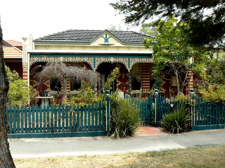 Typical architecture with cast iron lacework. Melbourne, Victoria, Australia