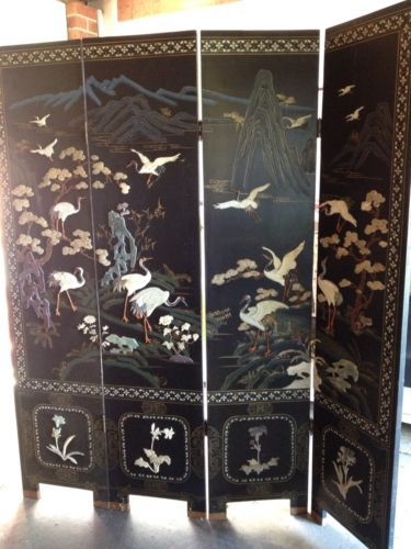 Vintage Oriental Room Divider Screen 4 Panels No Place