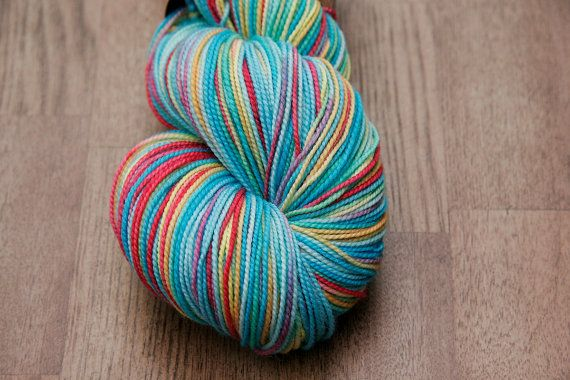 Hand Painted Sock Yarn  Pool Party  Bliss by AndreSueKnits on Etsy
