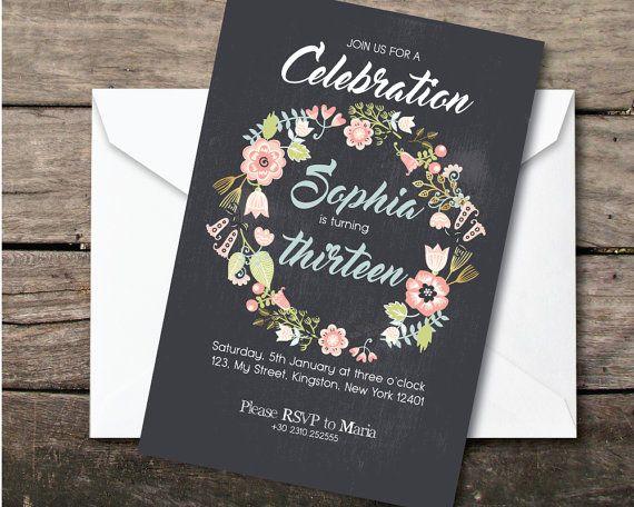 Printable and printed romantic flower birthday by BeePrintDesigns