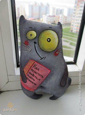 Игрушка Шитьё Цветные кофейные котики Краска Ткань фото 6