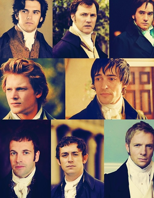 1. Edward Ferrars (Sense and Sensibility, TV mini-series, 2008) - 2. Coronel Brandon (Sense and Sensibility, TV mini-series, 2008) - 3. Fitzwilliam Darcy (Pride and Prejudice, 2005) - 4. Charles Bingley (Pride and Prejudice, 2005) - 5. Edmund Bertram (Mansfield Park, TV movie, 2007) - 6. George Knightley (TV mini-series, 2009) - 7. Henry Tilney (Northanger Abbey, TV movie, 2007), 8. Captain Frederick Wentworth (Persuasion, TV movie, 2007)