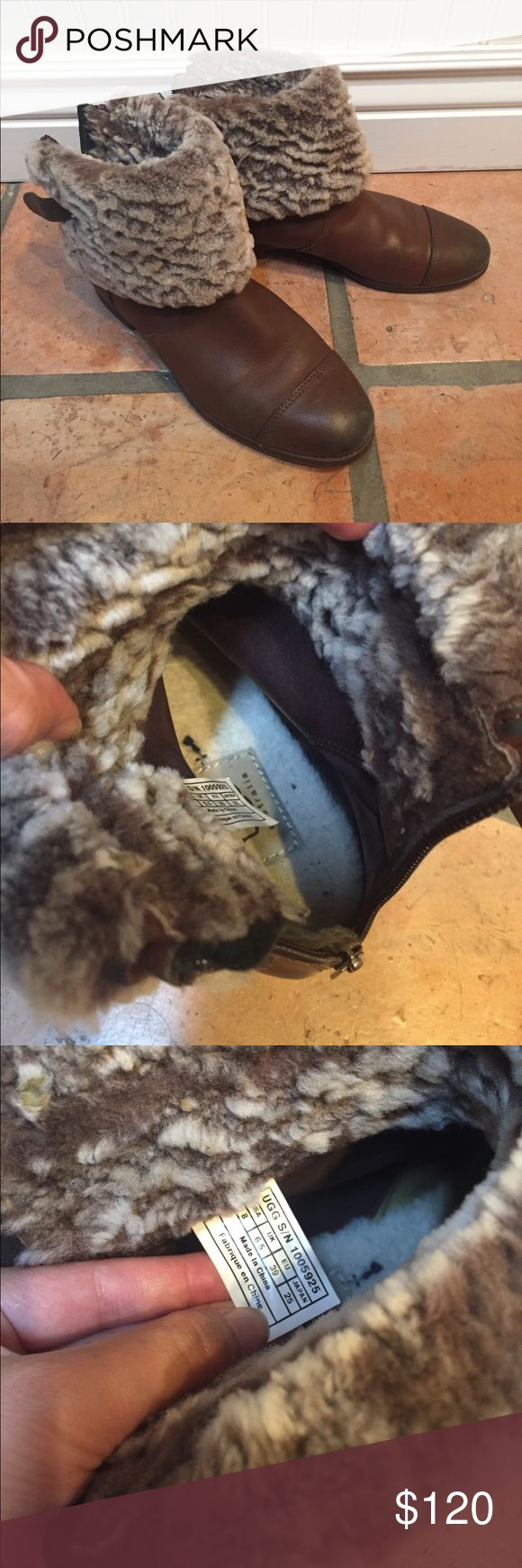 Cute UGG Sheepskin lined Leather Boots Very cute UGG leather boots! Used but in good condition. Signs of wear on the front and back of the boots. Soles in great condition. Hard to find in brown and sold out in retail. UGG Shoes Ankle Boots & Booties