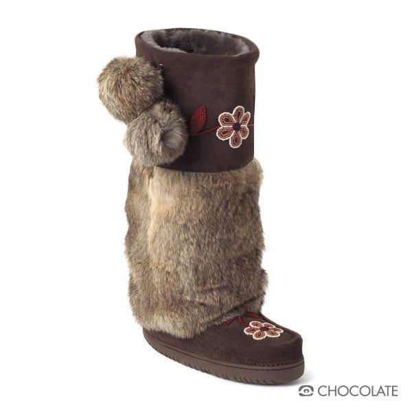 "Foot Lining: Sheepskin Shearling Height: 15"" Tall Materials: Cowhide Suede, Rabbit Fur Sole: Tipi Vibram"