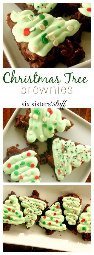 Christmas Tree Brownies recipe from Six Sisters' Stuff   I have an addiction to the Cosmic Brownie Christmas Trees. I don't know what it is about the Christmas Tree ones that are so addicting, but I just can't get enough of them. Well… I ran out the other day, and decided I would just make my own. However… I cheated and used a box brownie mix, but they still tasted amazing!