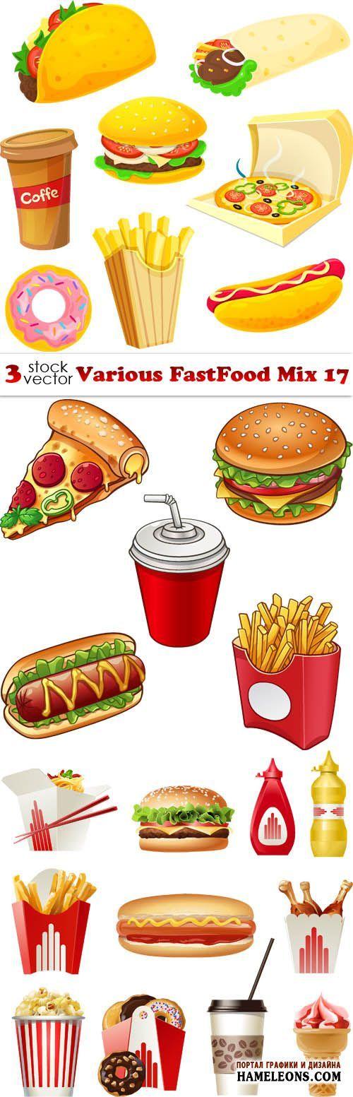 Разные фастфуд - гамбургеры, пицца, картошка фри, сэндвичи в векторе   Various FastFood Mix 17