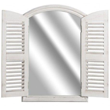 Lustro wykonane na kształt okiennicy francuskiej z otwieranymi drzwiczkami.  Więcej na : www.lawendowykredens.pl