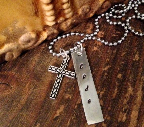 Boys Cross Necklace. Communion Necklace. Boys by TheStampingShop