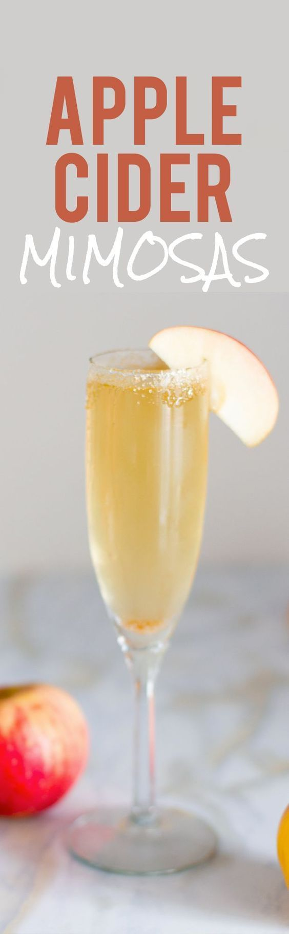 Thanksgiving recipes - Apple Cider Mimosas. Perfect for fall or Thanksgiving celebrations.