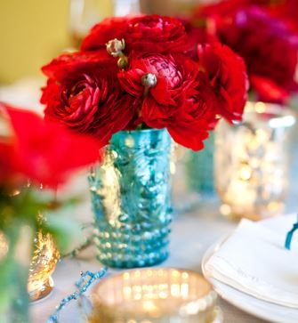 teal and red reception wedding flowers,  wedding decor, wedding flower centerpiece, wedding flower arrangement, add pic source on comment and we will update it. www.myfloweraffair.com can create this beautiful wedding flower look.