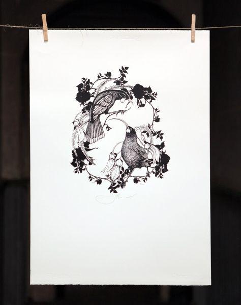 HUIA BLACK AND WHITE | Screenprint, edition of 200, 500mm x 700mm $350 | Flox.co.nz